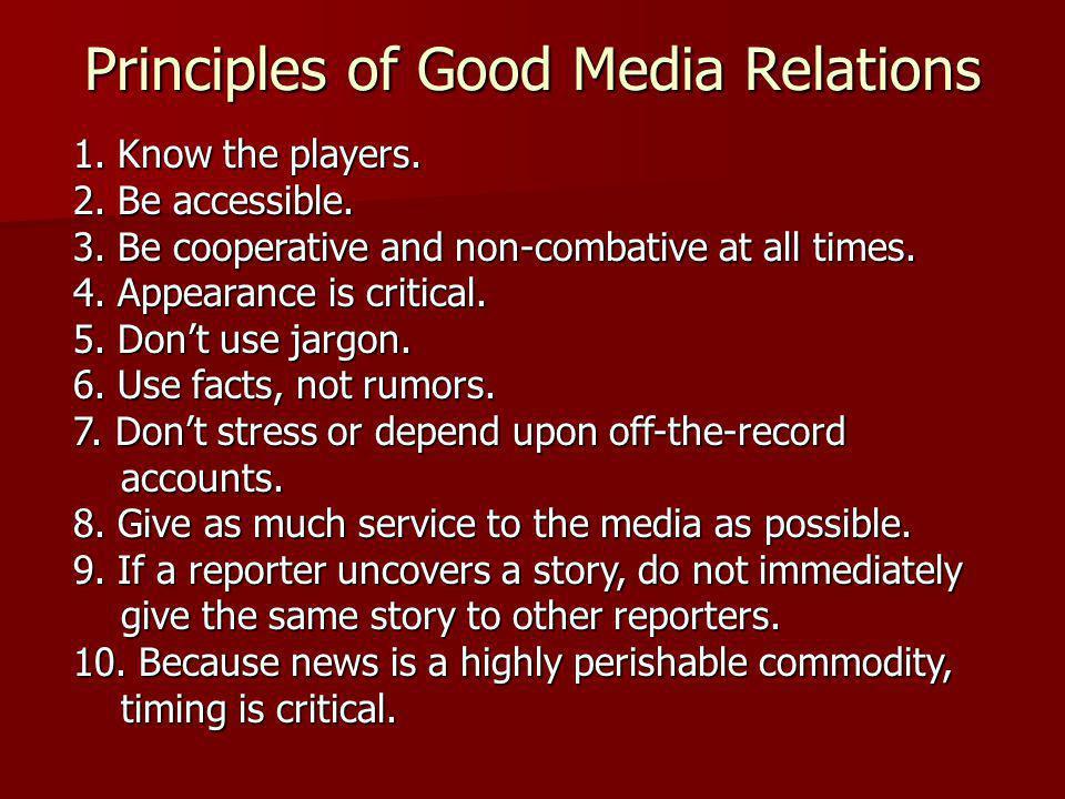 Principles of Good Media Relations
