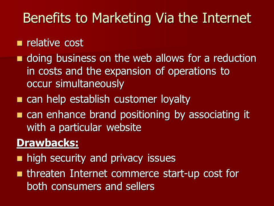 Benefits to Marketing Via the Internet