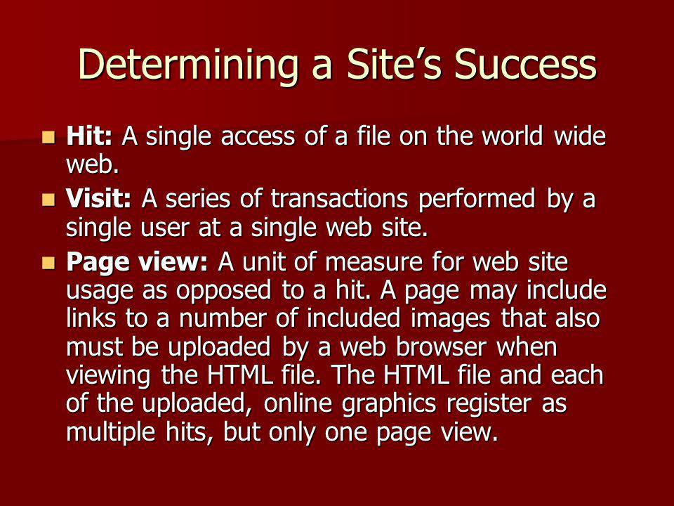 Determining a Site's Success