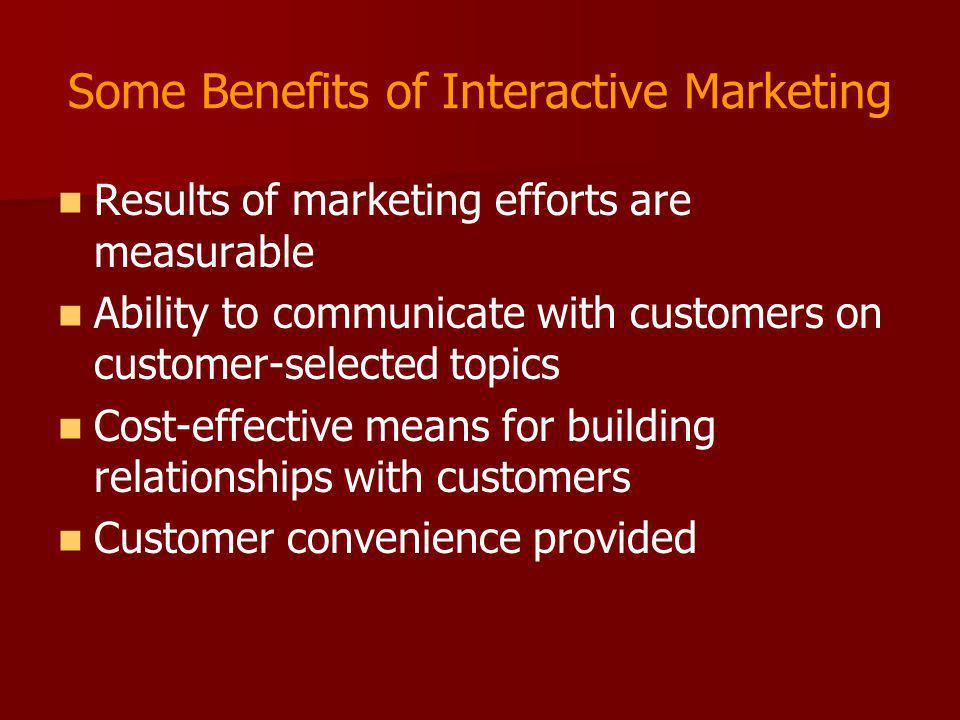 Some Benefits of Interactive Marketing
