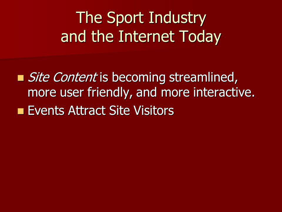 The Sport Industry and the Internet Today