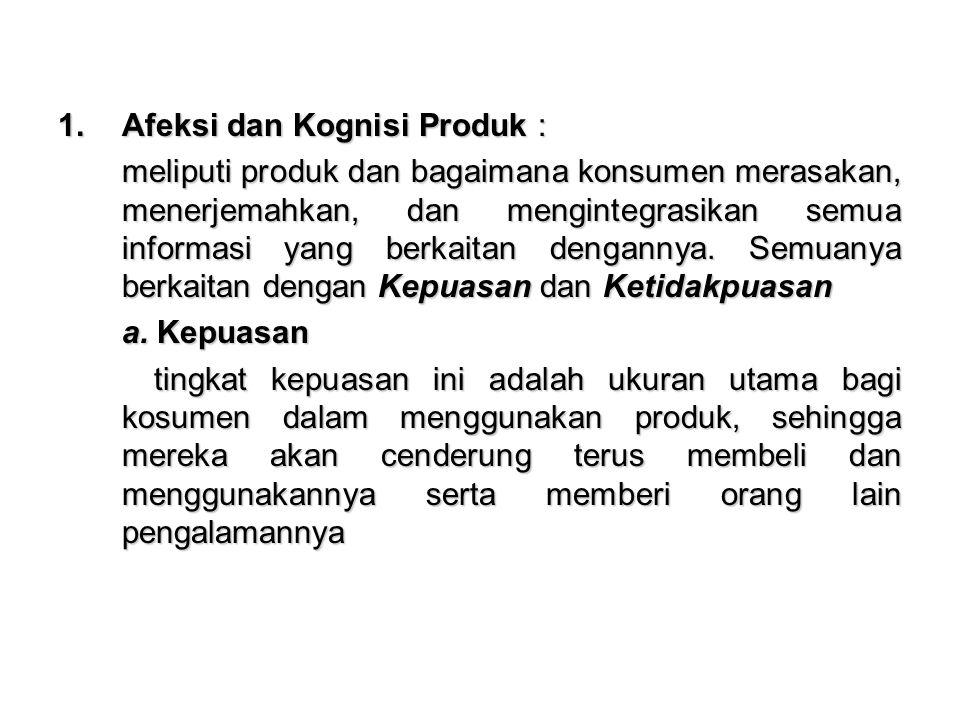 Afeksi dan Kognisi Produk :