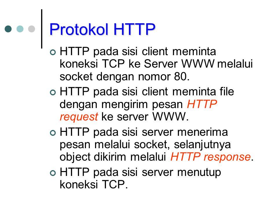 Protokol HTTP HTTP pada sisi client meminta koneksi TCP ke Server WWW melalui socket dengan nomor 80.