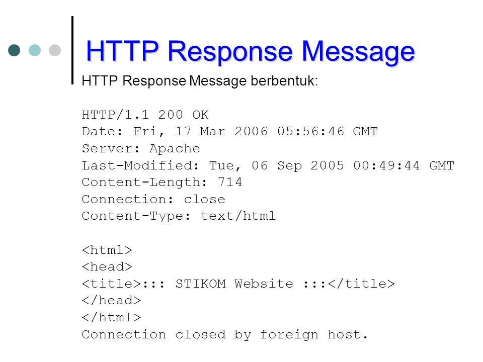 HTTP Response Message HTTP Response Message berbentuk: HTTP/1.1 200 OK