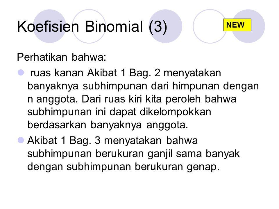 Koefisien Binomial (3) Perhatikan bahwa: