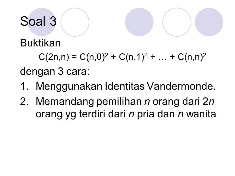 C(2n,n) = C(n,0)2 + C(n,1)2 + … + C(n,n)2