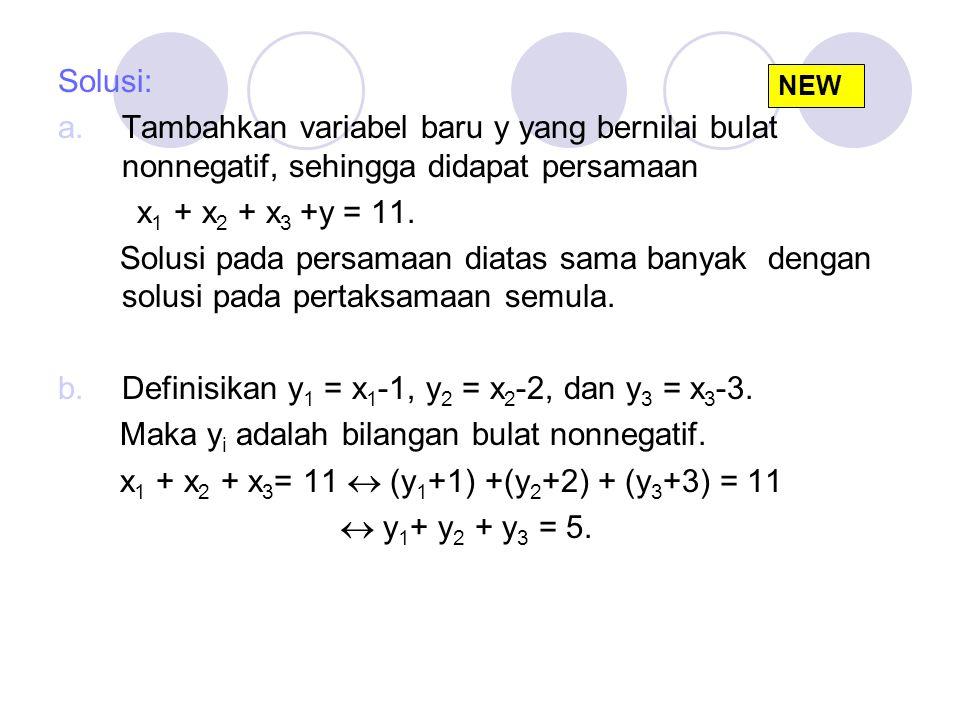 Definisikan y1 = x1-1, y2 = x2-2, dan y3 = x3-3.