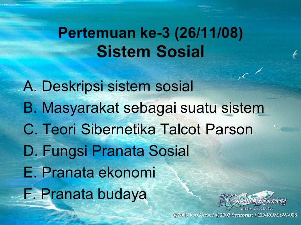 Pertemuan ke-3 (26/11/08) Sistem Sosial