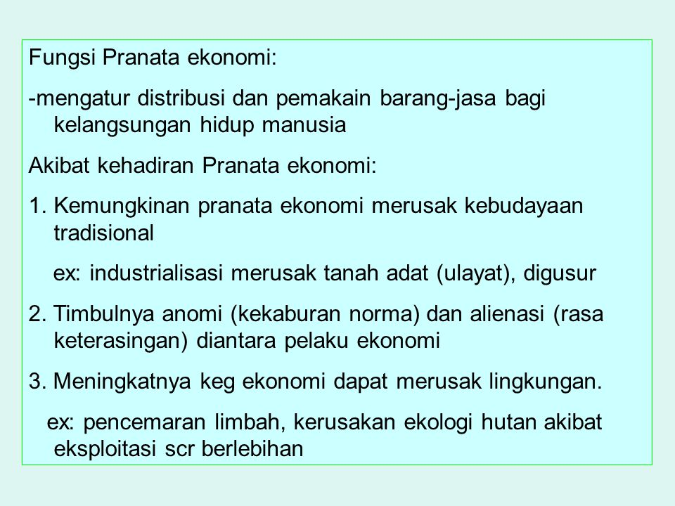 Fungsi Pranata ekonomi: