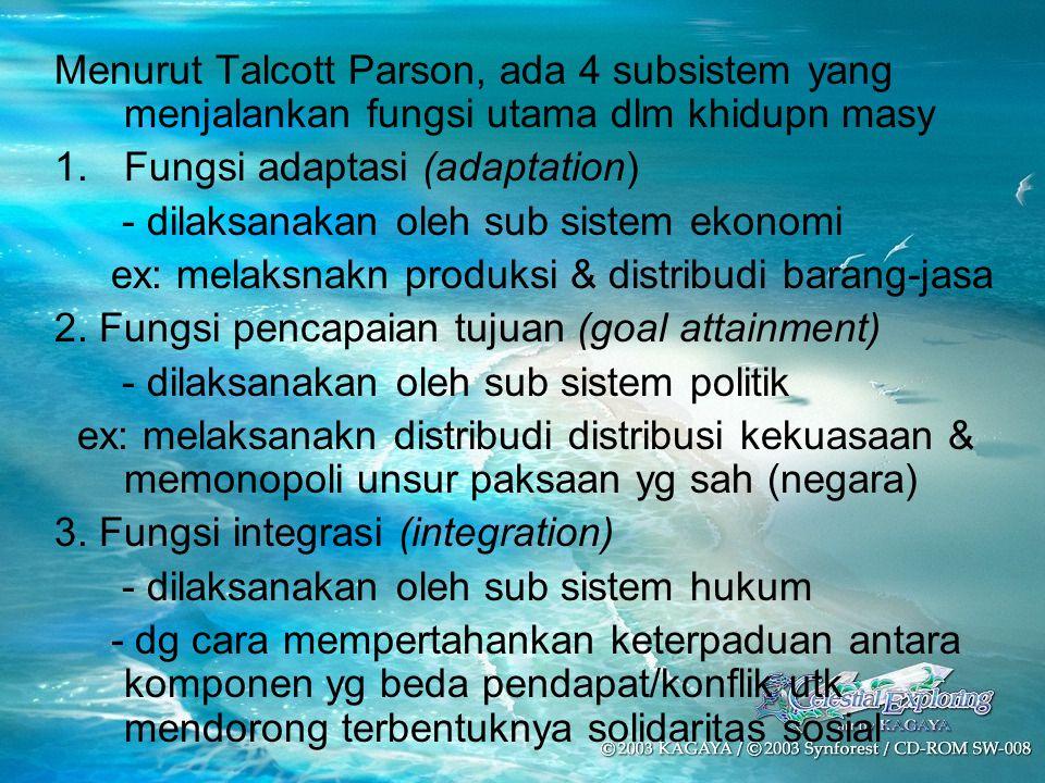 Menurut Talcott Parson, ada 4 subsistem yang menjalankan fungsi utama dlm khidupn masy