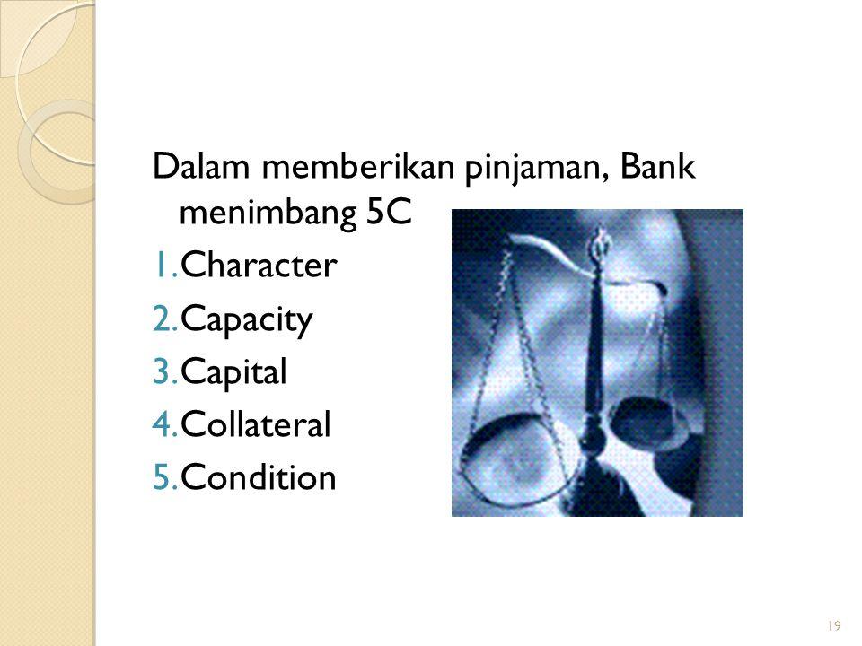 Dalam memberikan pinjaman, Bank menimbang 5C Character Capacity