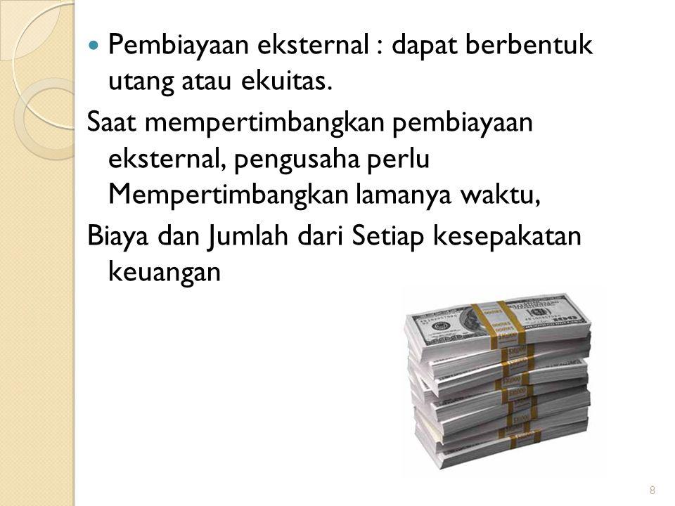 Pembiayaan eksternal : dapat berbentuk utang atau ekuitas.