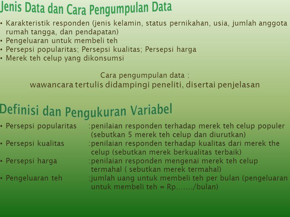 Jenis Data dan Cara Pengumpulan Data Definisi dan Pengukuran Variabel