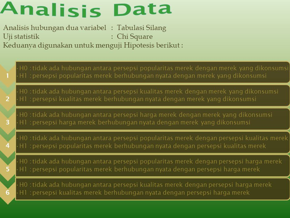 Analisis Data Analisis hubungan dua variabel : Tabulasi Silang