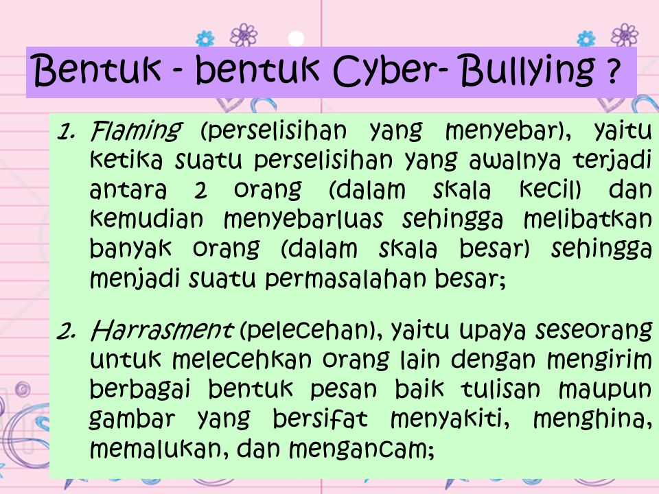 Bentuk - bentuk Cyber- Bullying