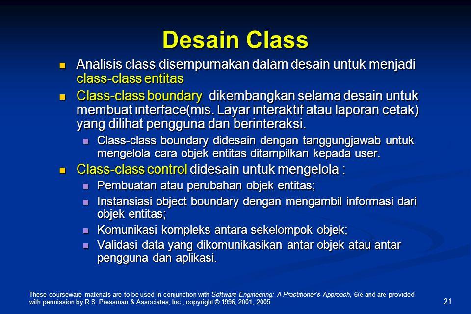 Desain Class Analisis class disempurnakan dalam desain untuk menjadi class-class entitas.