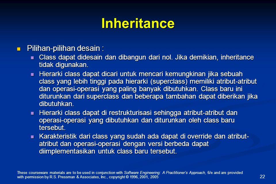 Inheritance Pilihan-pilihan desain :