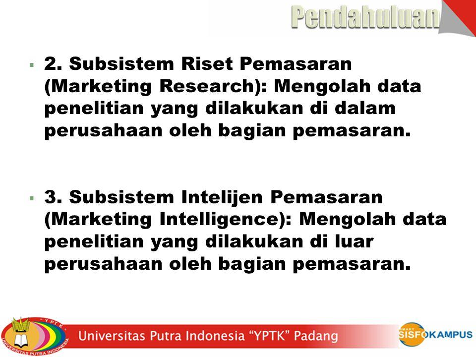 Pendahuluan 2. Subsistem Riset Pemasaran (Marketing Research): Mengolah data penelitian yang dilakukan di dalam perusahaan oleh bagian pemasaran.