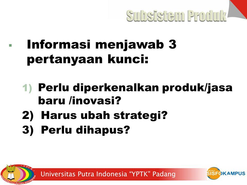 Subsistem Produk Informasi menjawab 3 pertanyaan kunci: