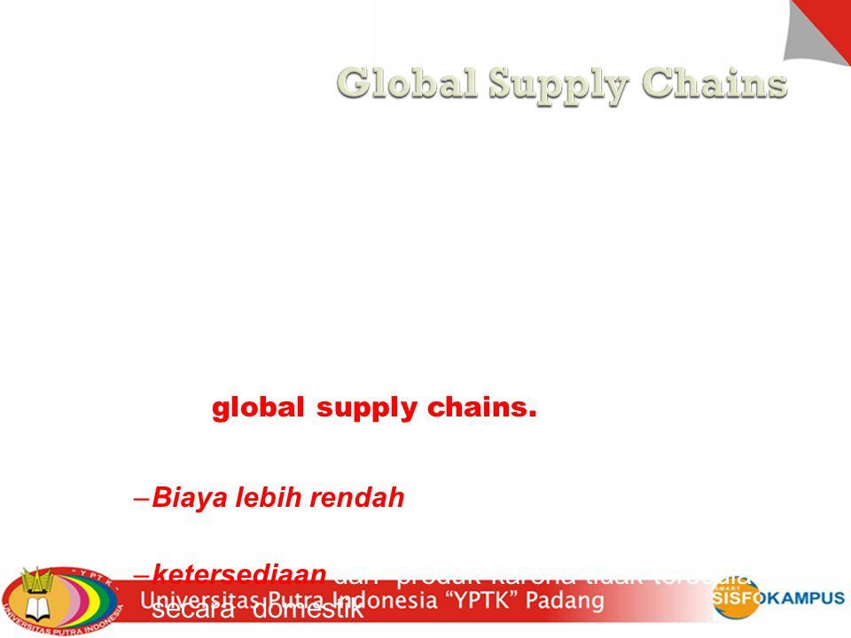 Global Supply Chains Global supply chains biasanya lebih panjang dari pada domestik , dan lebih kompleks. Sehingga muncul tambahan ketidak pastian.