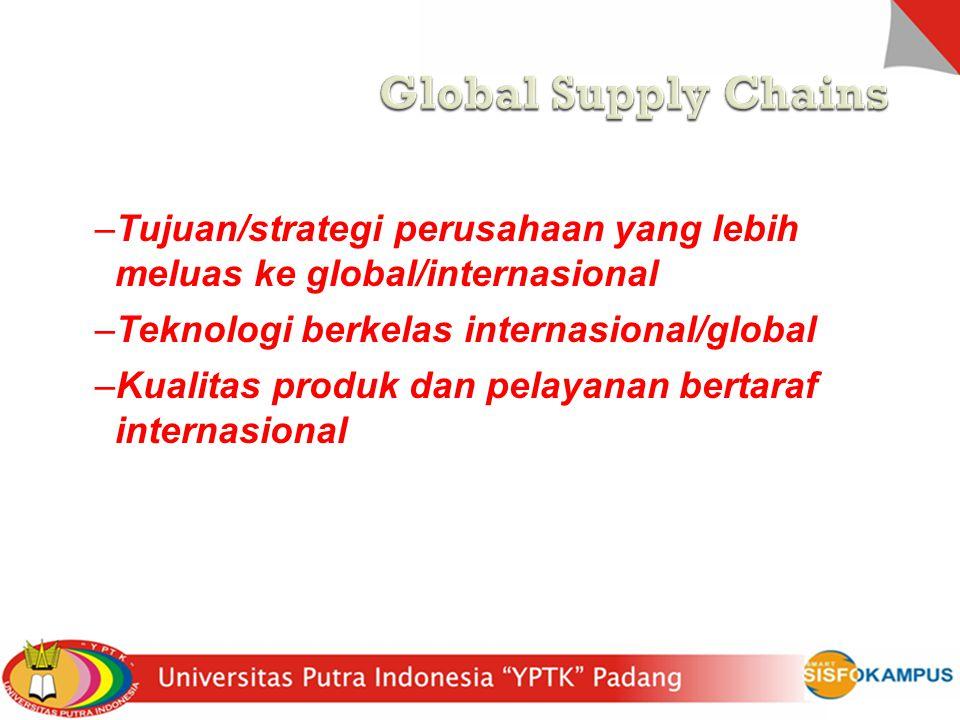 Global Supply Chains Perusahaan masuk ke global dengan alasan :