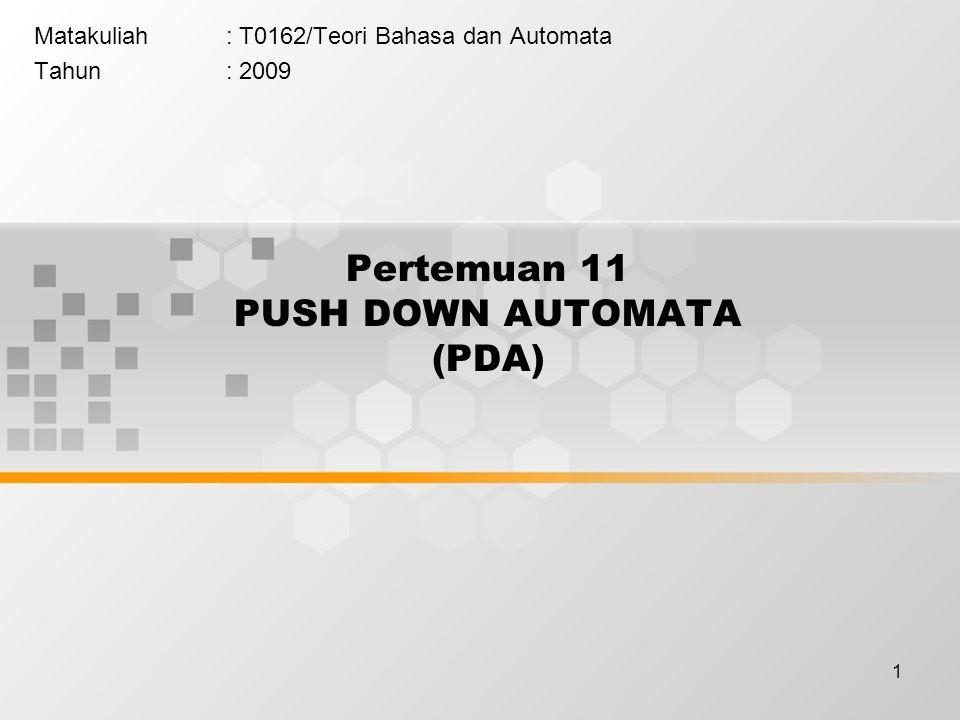 Pertemuan 11 PUSH DOWN AUTOMATA (PDA)