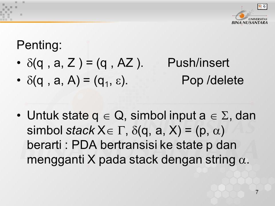 Penting: (q , a, Z ) = (q , AZ ). Push/insert. (q , a, A) = (q1, ). Pop /delete.