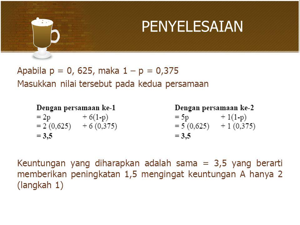 PENYELESAIAN Apabila p = 0, 625, maka 1 – p = 0,375