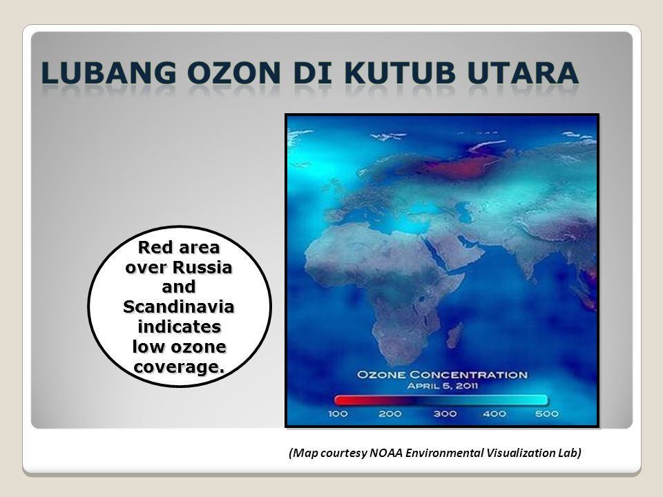 Red area over Russia and Scandinavia indicates low ozone coverage.