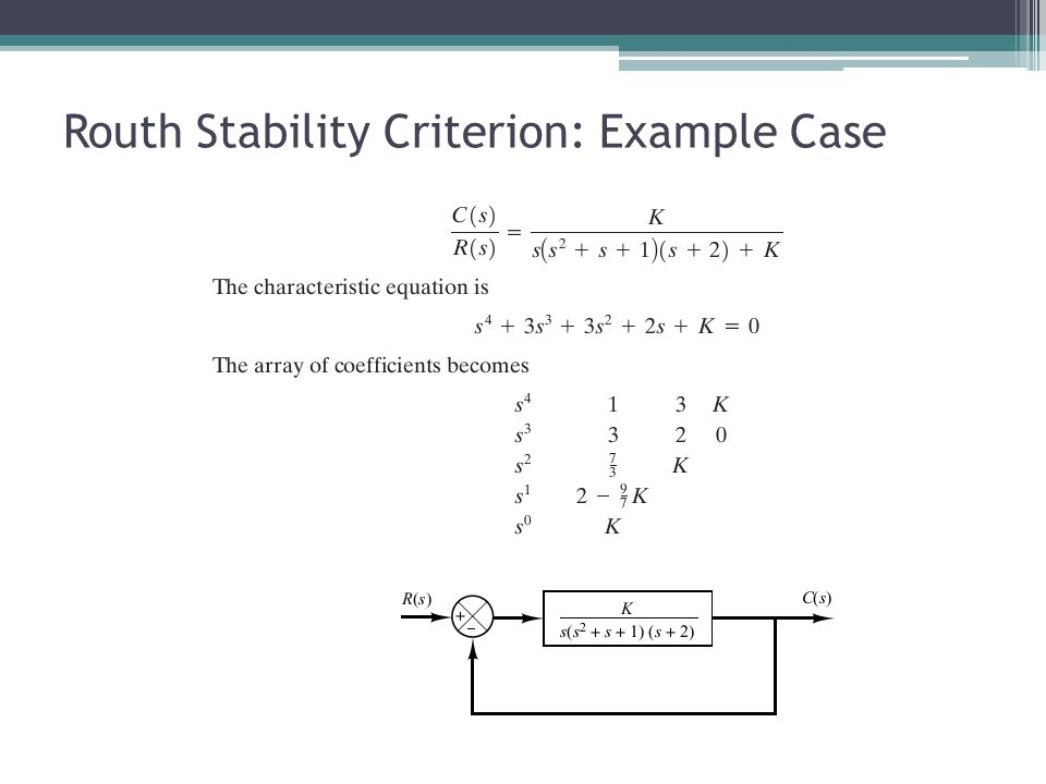 Routh Stability Criterion: Example Case