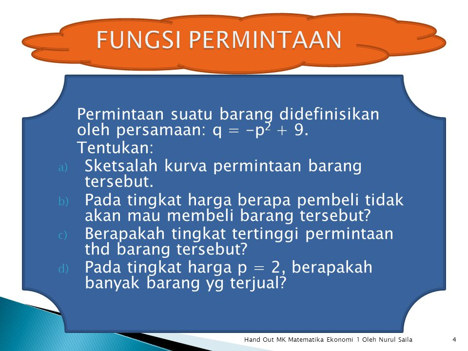 FUNGSI PERMINTAAN Permintaan suatu barang didefinisikan oleh persamaan: q = -p2 + 9. Tentukan: Sketsalah kurva permintaan barang tersebut.
