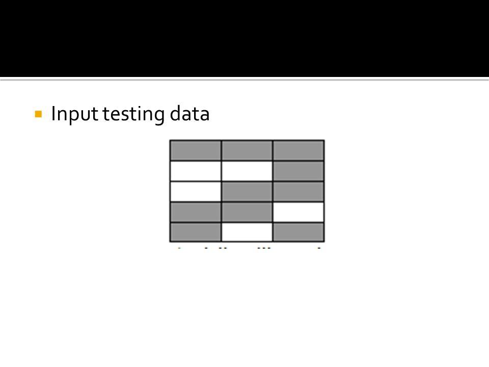 Input testing data