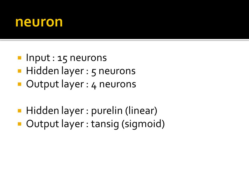 neuron Input : 15 neurons Hidden layer : 5 neurons