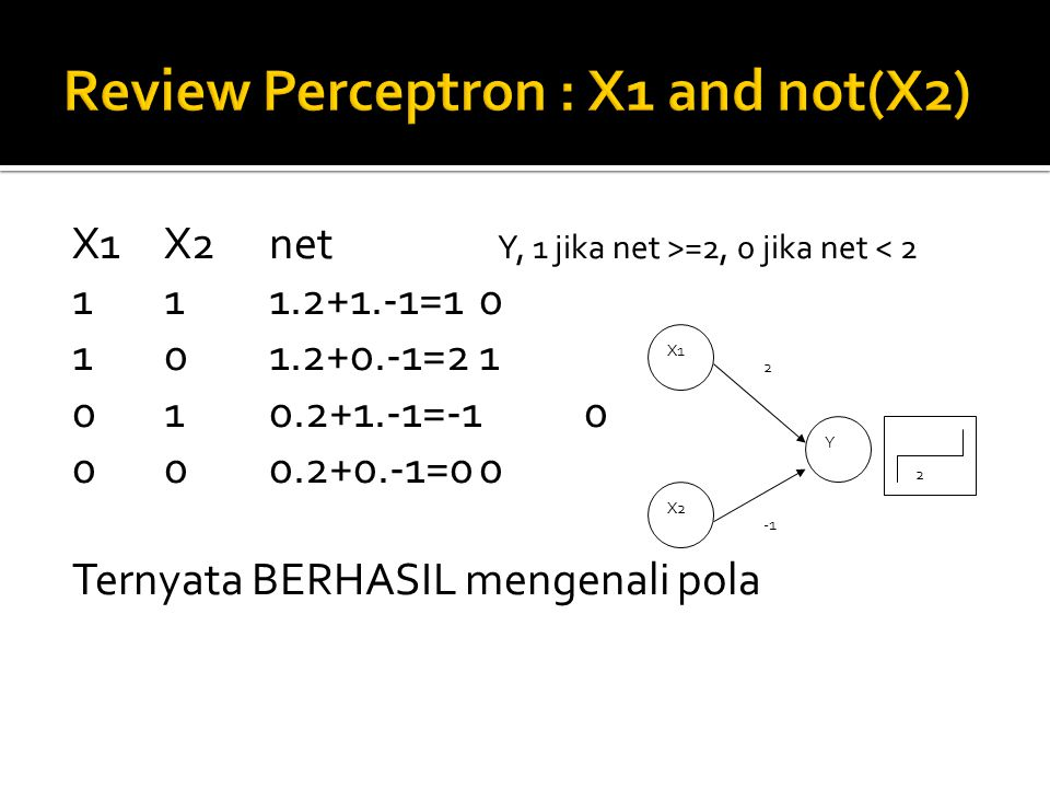 Review Perceptron : X1 and not(X2)