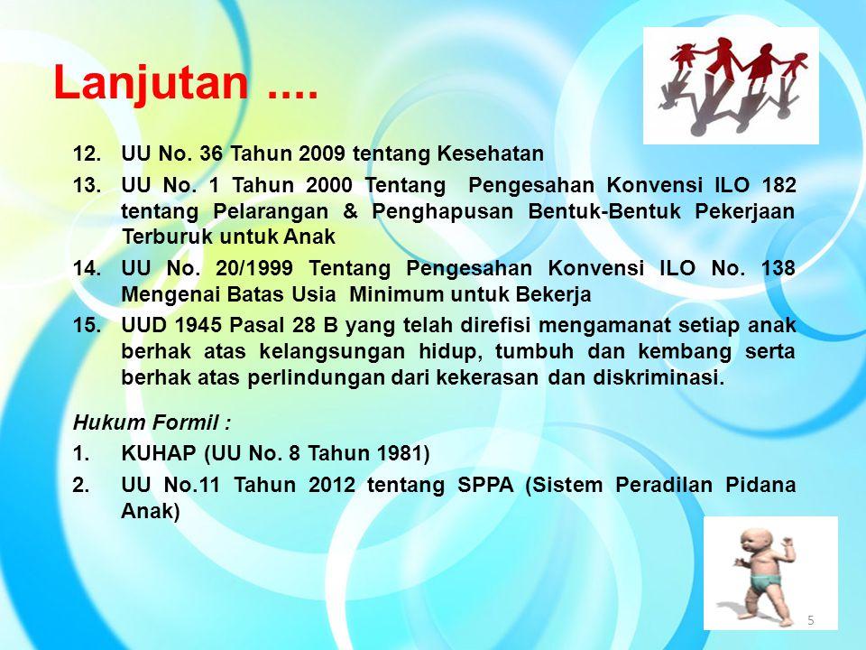 Lanjutan .... 12. UU No. 36 Tahun 2009 tentang Kesehatan