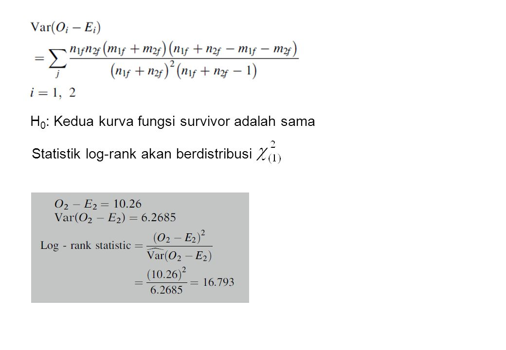 H0: Kedua kurva fungsi survivor adalah sama