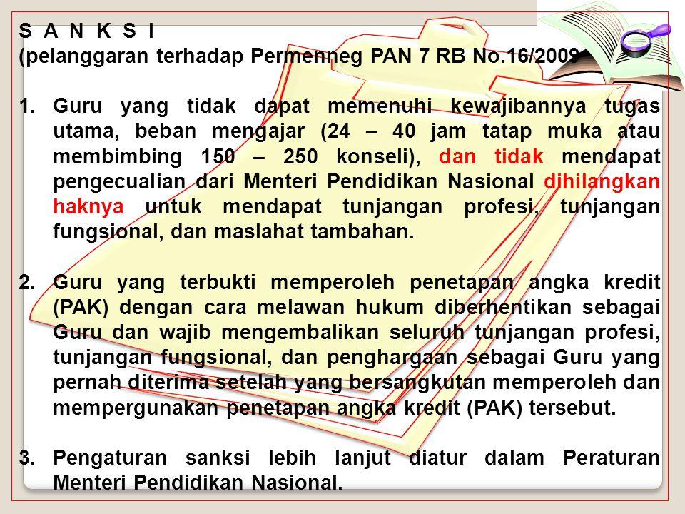 S A N K S I (pelanggaran terhadap Permenneg PAN 7 RB No.16/2009.