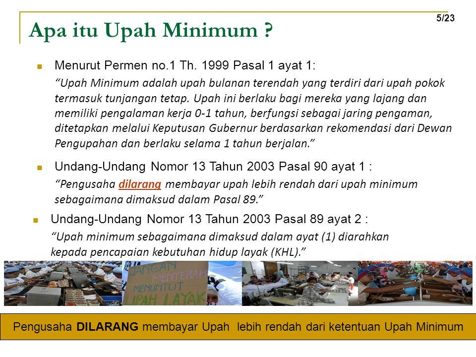 Apa itu Upah Minimum Menurut Permen no.1 Th. 1999 Pasal 1 ayat 1: