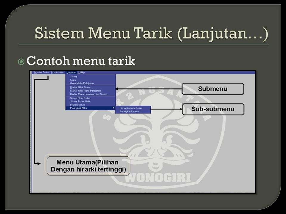 Sistem Menu Tarik (Lanjutan…)