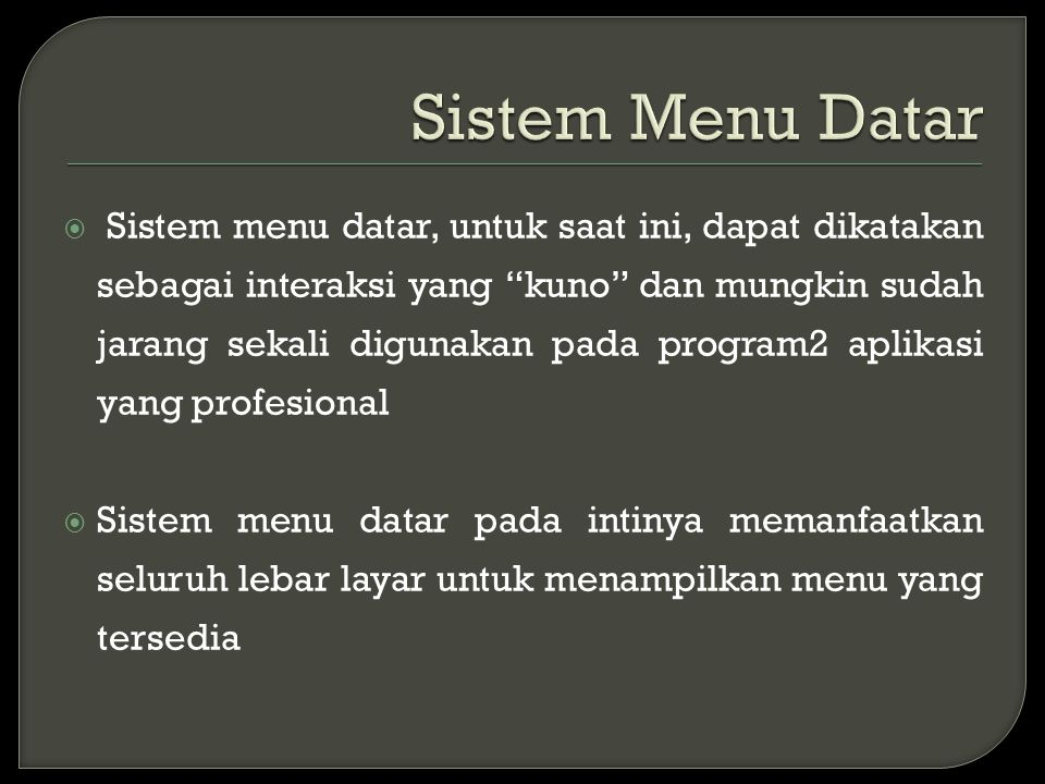 Sistem Menu Datar