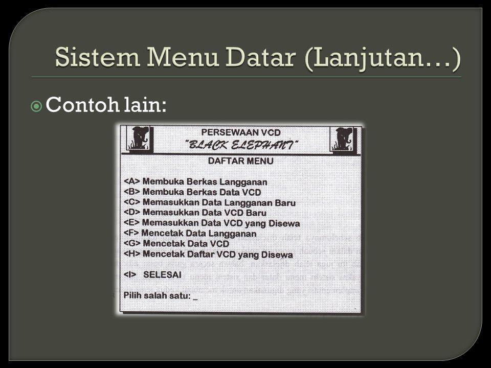 Sistem Menu Datar (Lanjutan…)