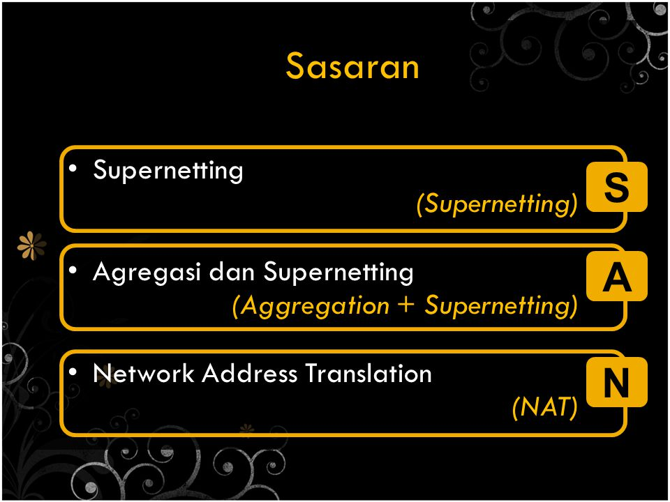 Sasaran S A N Supernetting (Supernetting) Agregasi dan Supernetting