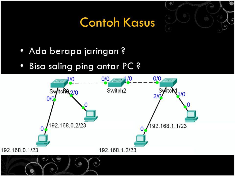 Contoh Kasus Ada berapa jaringan Bisa saling ping antar PC