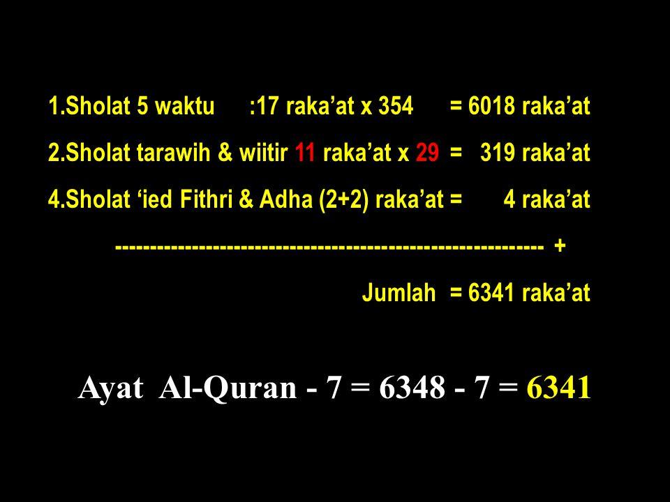 1.Sholat 5 waktu :17 raka'at x 354 = 6018 raka'at