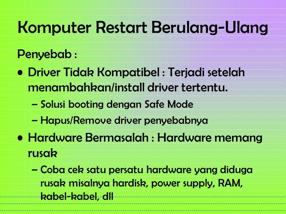 Komputer Restart Berulang-Ulang