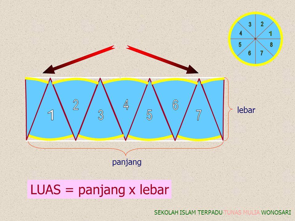 8 1 2 3 4 5 6 7 8 2 4 6 1 3 5 7 LUAS = panjang x lebar lebar panjang