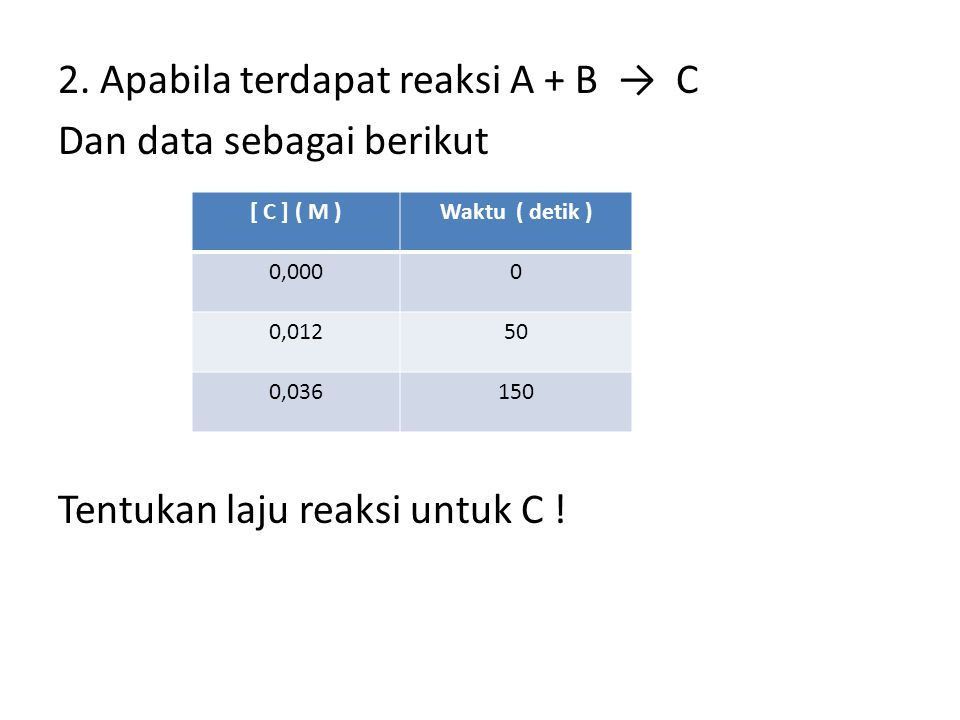 2. Apabila terdapat reaksi A + B → C Dan data sebagai berikut Tentukan laju reaksi untuk C !