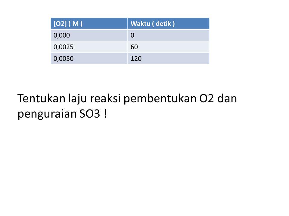 Tentukan laju reaksi pembentukan O2 dan penguraian SO3 !