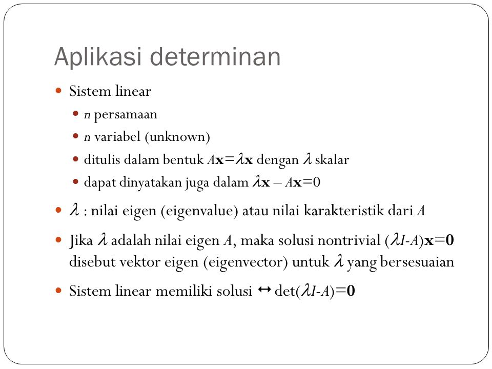 Aplikasi determinan Sistem linear