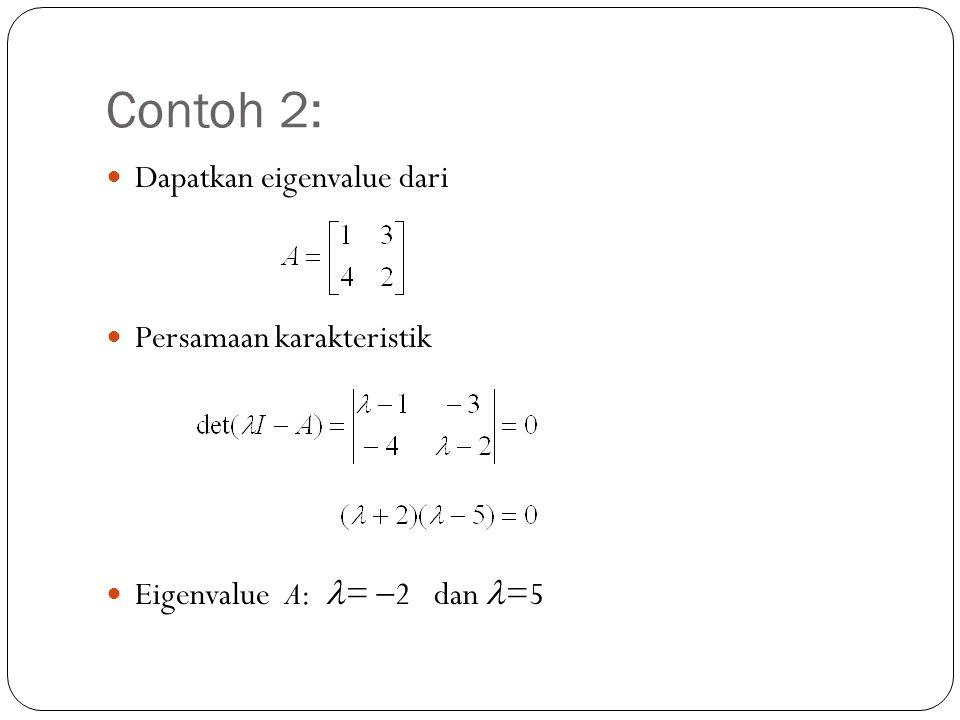 Contoh 2: Dapatkan eigenvalue dari Persamaan karakteristik